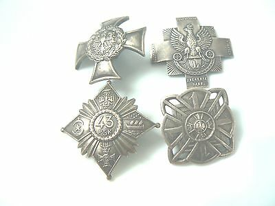 Group #18 Poland 4 Regimental Badges, A Guide To Collecting Replica/copy Badges