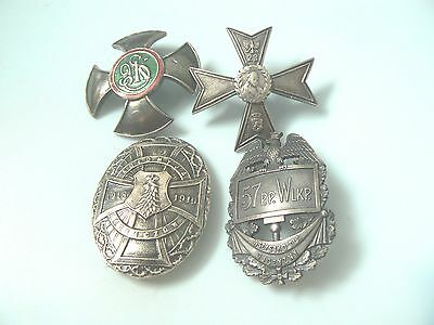 Group #20 Poland 4 Regimental Badges, Guide To Collecting Replica/copy Badges