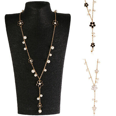 Elegant Floral Faux Pearl Sweater Chain Women Girl Long Necklace White Black