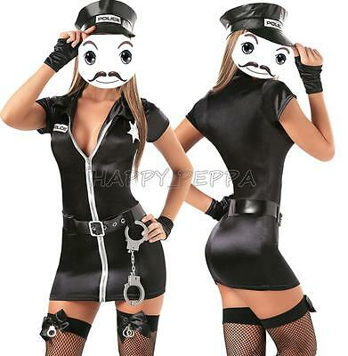 Lady Black Police Woman Costume Cop Uniform Officer Halloween Fancy Dress  Outfit 4654e73ad