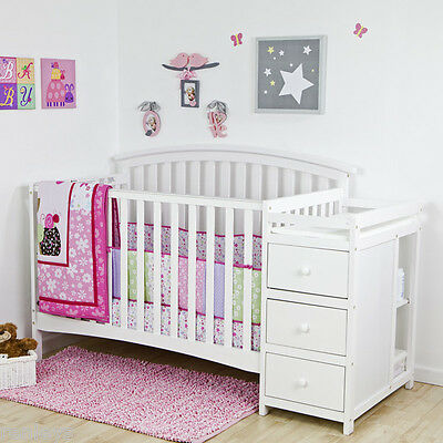 5 in 1 Side Convertible Crib Changer Nursery Furniture Baby Toddler Bed White