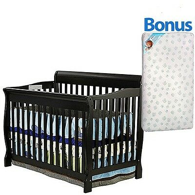 New 5 in 1 Convertible Baby Crib W/ Mattress Toddler Nursery Bed Changer Side
