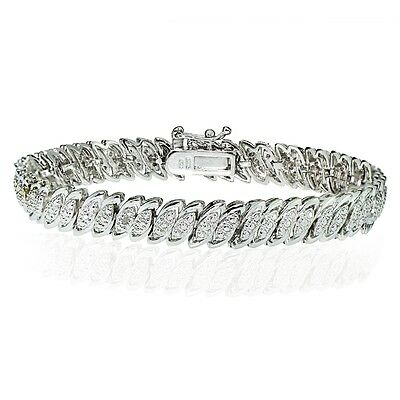 Diamond Accent Marquise S Tennis Bracelet in Silver Plated Brass