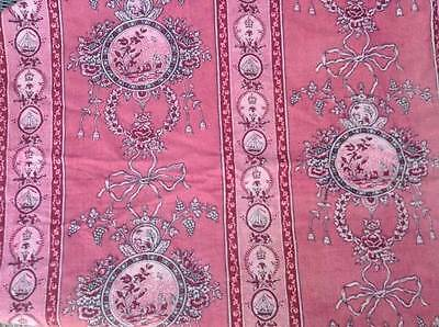 "Antique Faded Grandeur French Raspberry toile de jouy cotton fabric 48"" x 25"""