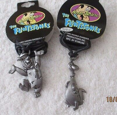 Lot of 2 1994 Hanna Barbera The Flintstones Pewter Necklaces Dino & Fred