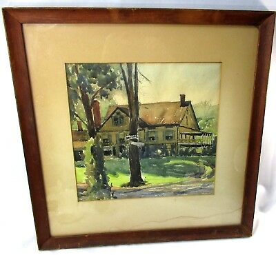 "1930's Vintage Unsigned Watercolor SHIPYARD HOUSE Framed 20""x 20 1/2"""