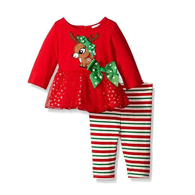 Xmas Christmas Baby Girls Kids Romper Tops Long Pants Trouser Clothes Outfit Set