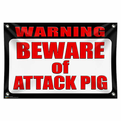 "Warning Beware of Attack Pig 33"" x 22"" Mini Vinyl Flag Banner Wall Sign"