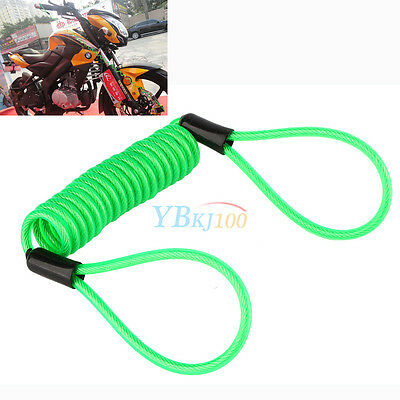 1PC 120cm Safety Lanyard Spring Coil Wire Disc Brake Lock Reminder Cable Green