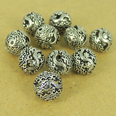 925 Sterling Silver Dragon Sign Beads Round Vintage Jewelry Making Wholesale 450
