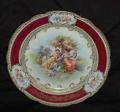 """Bee Hive Marked Roman Scene 9-1/2"""" Collector Plate    Burgandy and Gold"""