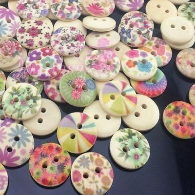 50pcs Print Flowers Kid's Sewing Wood Buttons 15mm Sewing Craft Mix Lots WB169