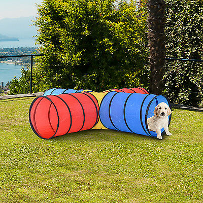 New Cat Tunnel 4 Way Pet Cave Play Fun Kitten Kitty Colorful Toy Shape Exercise