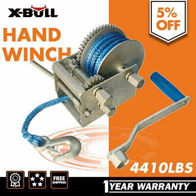 X-BULL Hand Winch 2000KG/4410LBS Dyneema Rope 3speed-Car Boat  Marine Trailer