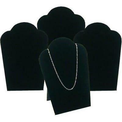 "4 Black Velvet Necklace Pendant Jewelry Bust Display Easel 3 3/4"" x 5 1/4"""