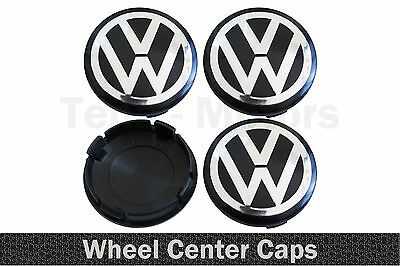 4x 60mm VW Chrome Noir Logo Roue Alliage Jante Centre Couvercles GOLF PASSAT