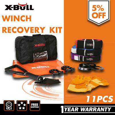 4WD Winch Recovery Kit Snatch Straps Pulley Block Bow Shackles Shovel Damper 4X4