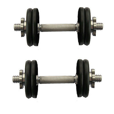 15kg Cast Iron Dumbbell Set Free Weights Training Home Gym Biceps Triceps Bars
