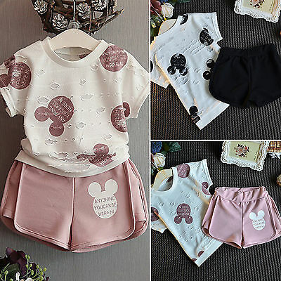 2PCS Toddler Kids Baby Girls Outfits T-shirt Tops Dress+ Short Pants Clothes Set