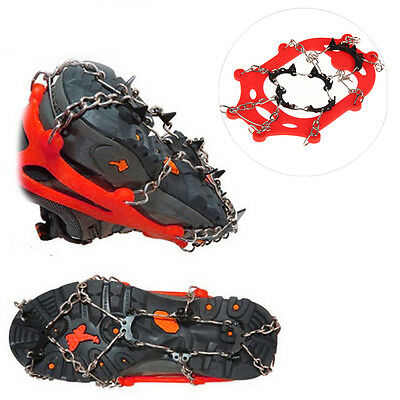 Stainless Steel Anti-slip Ice Cleats Shoe Boot Grips Crampon Chain Spike Sharp