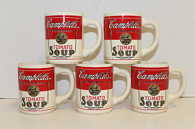 Set 6 Vintage Campbell's Tomato Soup Ceramic 8 Oz Mugs Cups Usa Red White 1960's