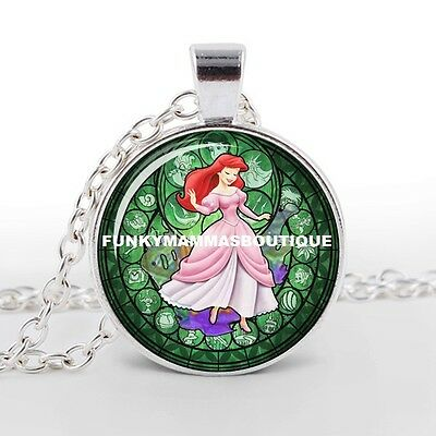 The Little Mermaid Ariel Kingdom Of Hearts Glass Pendant Necklace In Gift Bag