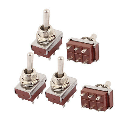 5 Pcs AC 250V 5A DPDT 6 Terminal ON-OFF 2 Position Latching Toggle Switch