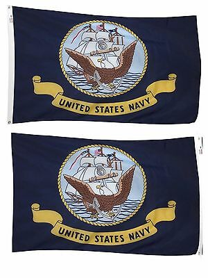 3x5 U.S. Navy Seal Crest Ship 2 Faced 2-ply Wind Resistant Flag Double Sided