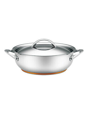 Per Vita Stainless Steel Copper 28cm/5.2L Deep Covered Sautepan: Made in Italy