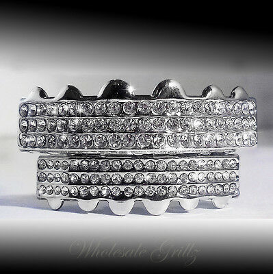 *2Nd* Iced Out Platinum Silver Style Grillz Set!! Top/bottom Hiphop Teeth Grills
