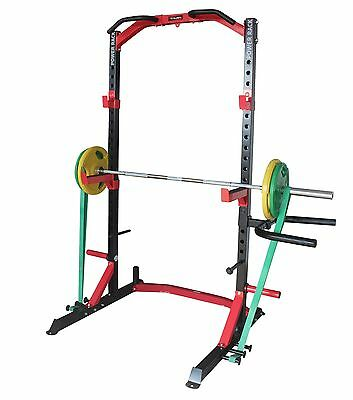Half Power Rack Heavy Duty Chin Up + Spotters + Oly Weight Plate Storage + DIPS