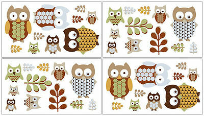 Owl Wall Decal Stickers by Sweet Jojo Designs - Set of 4 Sheets