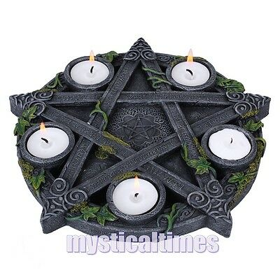 New * Pentagram * Wiccan Wicca Tea Light Holder From Nemesis Now