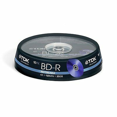 TDK BD-R Writable Blank Media Blu-ray Disks 10pk Spindle 25GB 4X Speed T78088