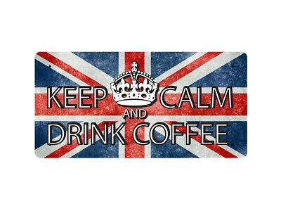 WP_KC_002 KEEP CALM AND DRINK COFFEE (Union Jack background) - Metal Wall Plate