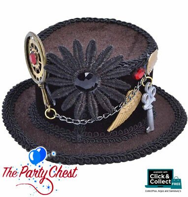 STEAMPUNK MINI TOP HAT Halloween Industrial Fancy Dress Costume Accessory BA613