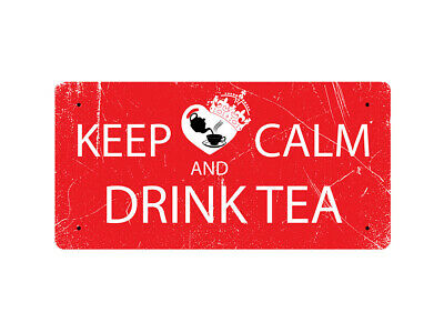 WP_KC_006 KEEP CALM AND DRINK TEA (Stylish Worn Design) (red background) - Metal