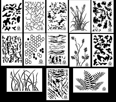 """Spray Airbrush Paint Camouflage Stencils 10 Mil Camo Duracoat 9x14"""" (13 Designs)"""