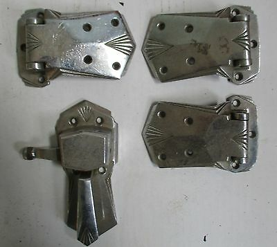 Lot 4 Chrome Nickel Vintage Art Deco Style Ice Box Chest Hinges + Pull Handle