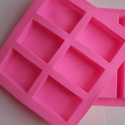 6-Cavity Rectangle Soap Mold Silicone Mould Tray DIY Making Multi Color