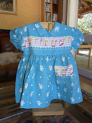 ROBE FILLE FILLETTE T 18m VINTAGE 50/60 GREEN GIRL DRESS size 18m