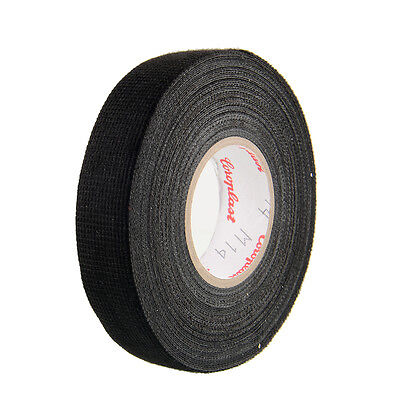 1x Adhesive 19mmx15M Cloth Fabric Tape For Car Auto Vehicle Trucks Black