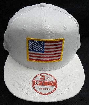 3ee7c1e7c NEW ERA NE400 White Snapback Hat/Cap With American Flag Patch Gold Border  NEW
