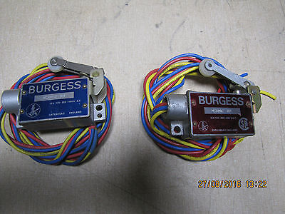 Burgess MCRMN2 RH 15A 125-250-480VAC Microswitch with levers & wires x 2