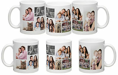 Personalised Photo Mug Collage Design Add Text Tea Coffee Cup Gift