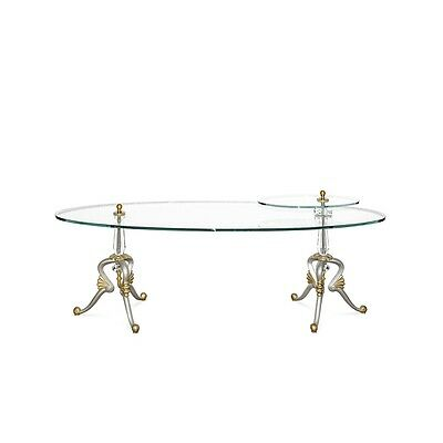 """72"""" Long Oval Coffee Table Hand Painted Cast Iron Champagne Finish Solid Brass"""