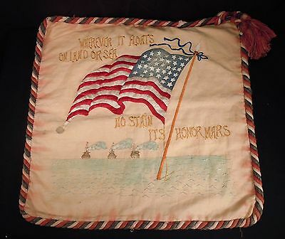 Antique 36 Star US Flag Embroidered Pillow Cover