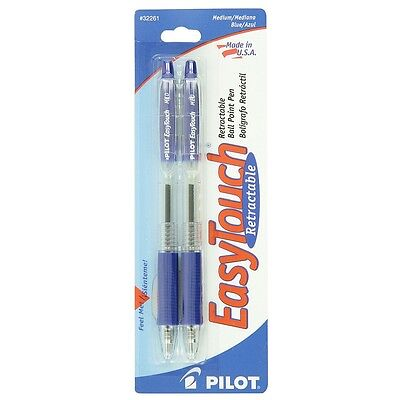 Pilot EasyTouch Medium Retractable Ball Point Pens, Blue 2 ea
