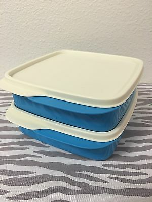 Tupperware Packette Divided Lunch Snack Containers Set Of 2 Blue 2 Cups New