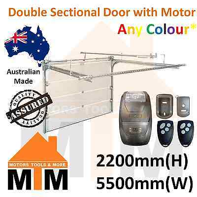"""Brand New"" Double Sectional Panel Lift Garage Door 2200(H) 5500(W) with Motor"